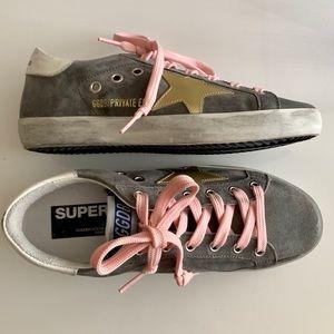 Golden Goose Gray Suede Superstar Sneakers
